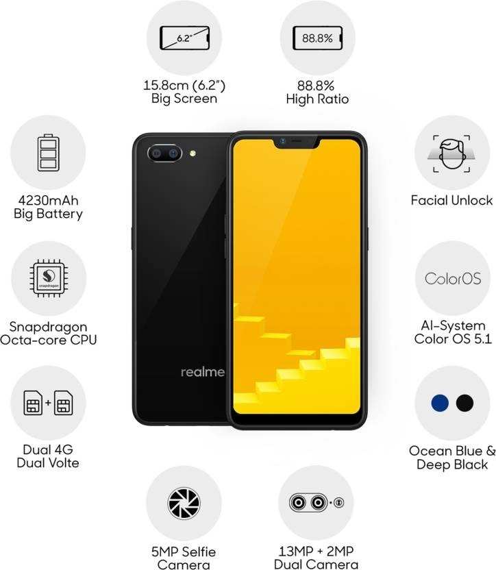 Realme C1 (Mirror Black, 32 GB) (2 GB RAM)